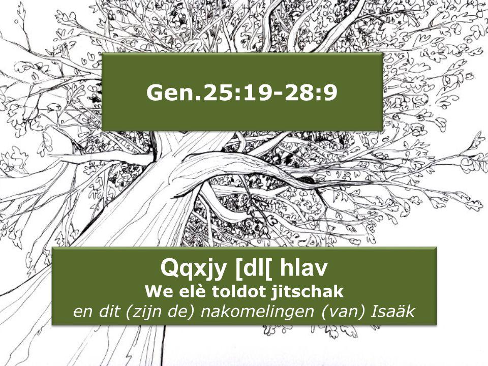 Gen.25:19-28:9 Qqxjy [dl[ hlav We elè toldot jitschak en dit (zijn de) nakomelingen (van) Isaäk